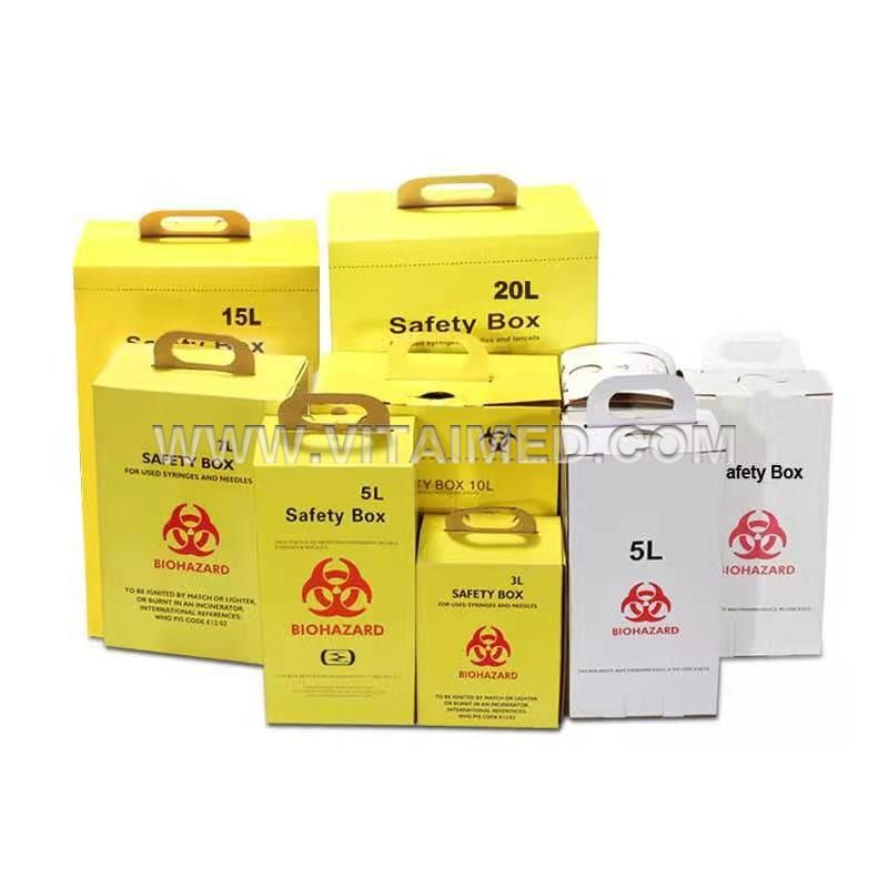 Medical Waste Collection Safety Boxes 5.0L Cardboard Sharps Container