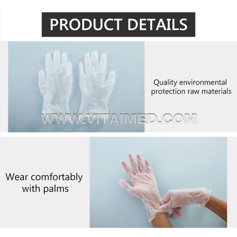 Powder free disposable vinyl examination gloves VIVE01